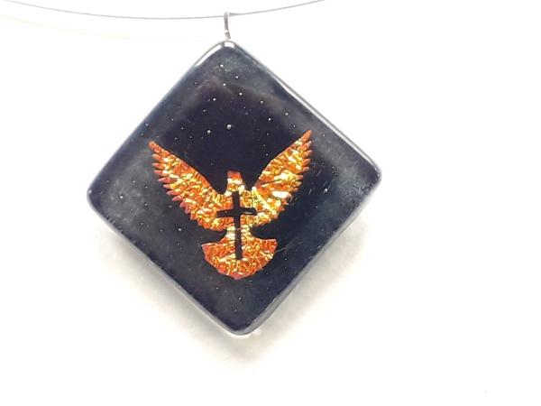 """Halskette """"Taube/Kreuz"""" gold/schwarz GHU 150"""