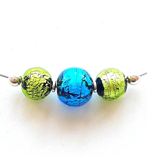 Perlencollier peridot aqua Unikat GHU220
