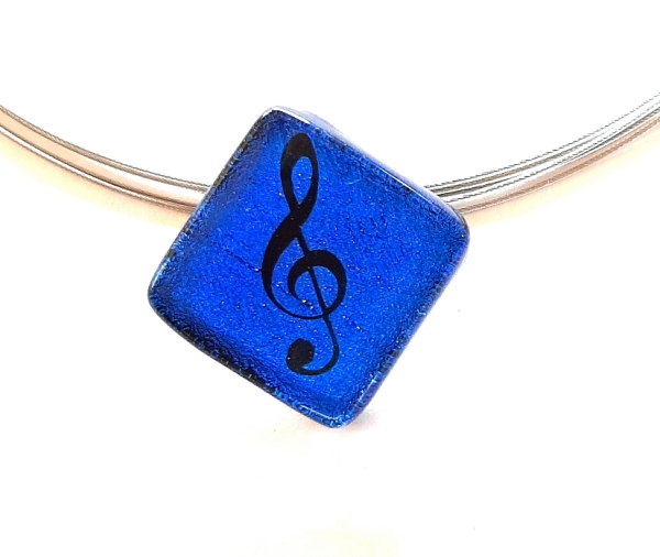 Halskette Notenschlüssel Blau