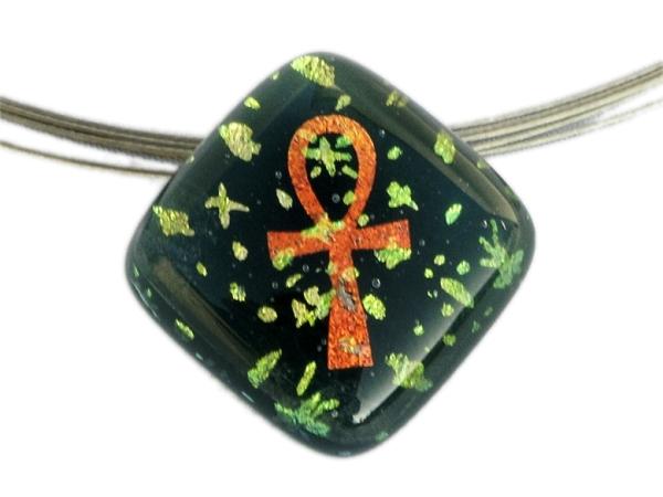 Pendant Halskette Small Ankh Stars grün