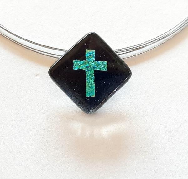 Halskette Schwarz Kreuz Türkis