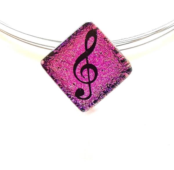 Halskette Notenschlüssel Violett