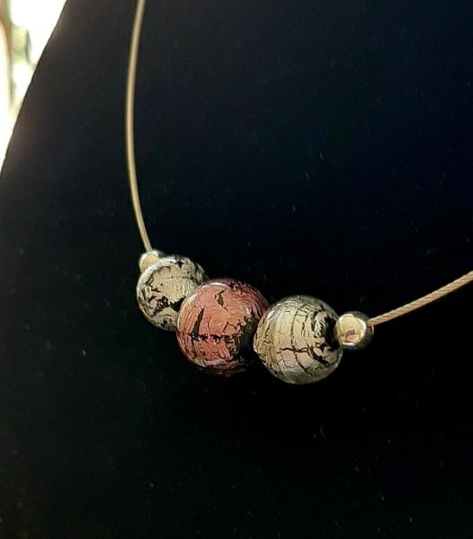 Perlencollier rose silber Unikat GHU219