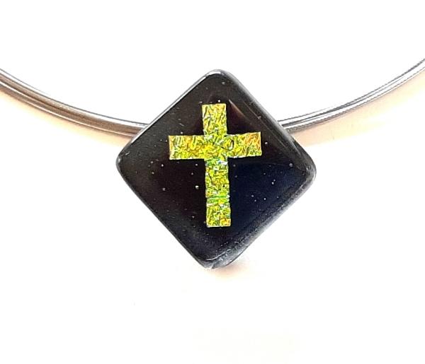 Halskette Schwarz Kreuz Gelbgrün