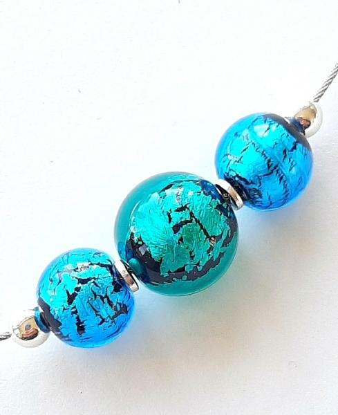 Perlencollier aqua-türkis Unikat GHU223