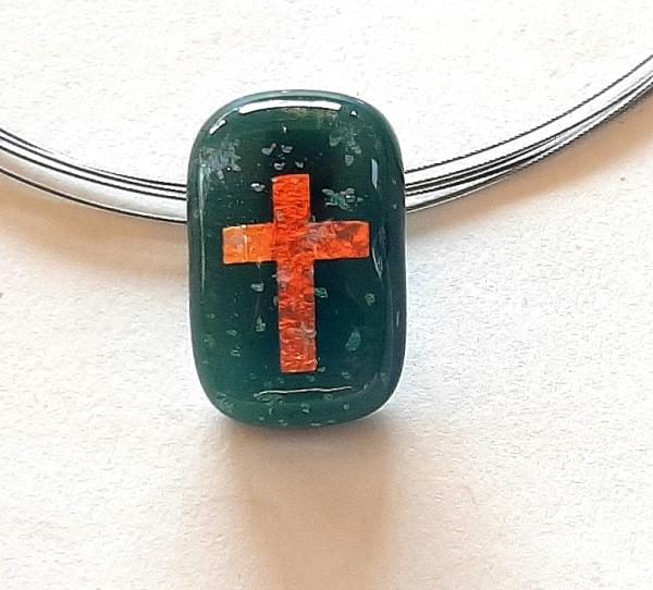 Halskette Rect Cross Stars grün