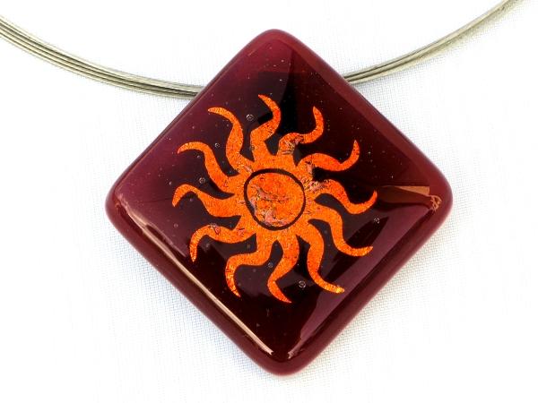 Halskette Sonne rot