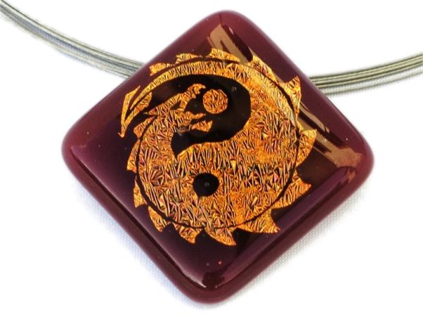 Halskette Yin Yang Dragon rot