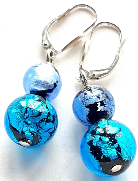 Perlen Ohrhänger blau Unikat GHU224