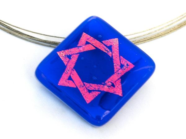 Halskette Heptagramm Blau