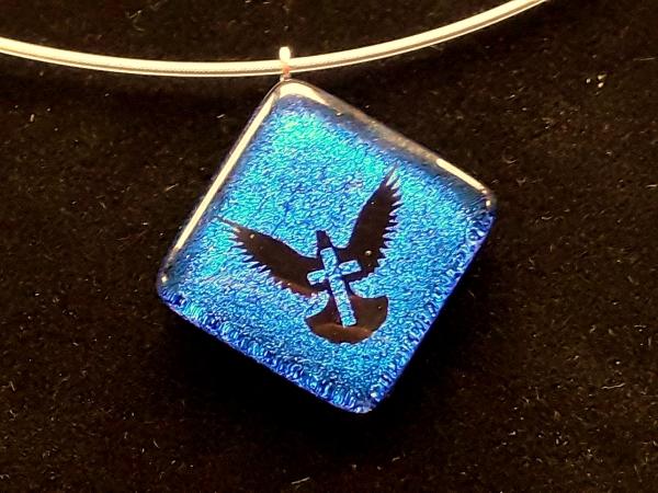 """Halskette """"Taube/Kreuz"""" blau GHU 148"""