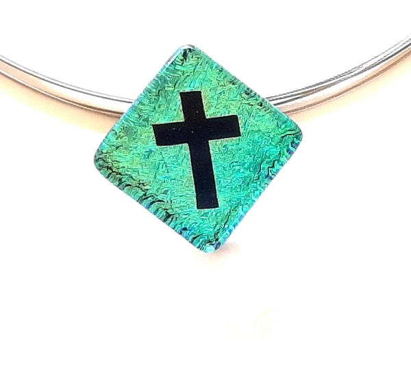 Halskette Kreuz Türkis