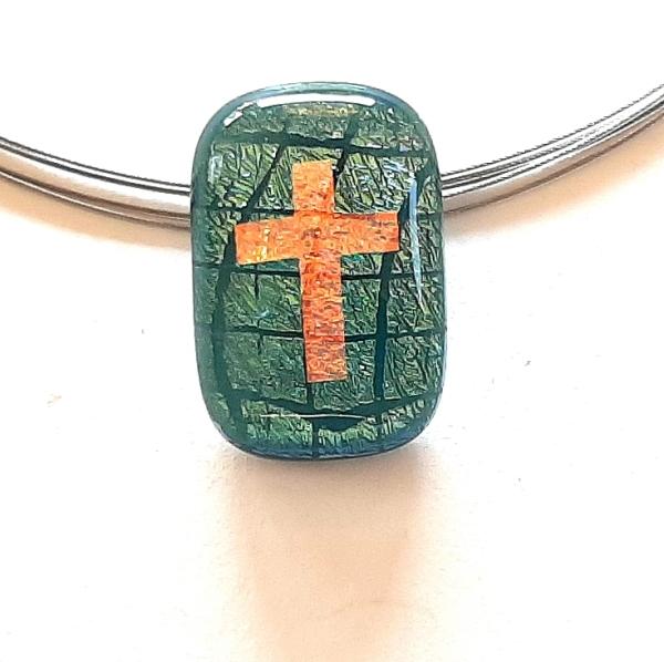 Halskette Rect Cross Warp grün