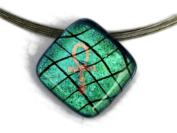 Warp Halskette Small Ankh grün