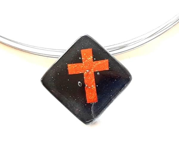 Halskette Schwarz Kreuz Gold