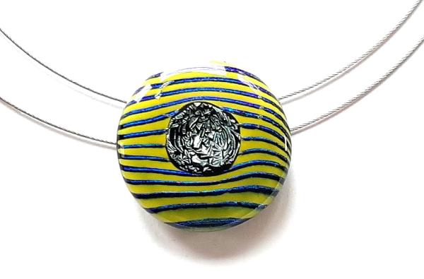 Unikatschmuck Stripe Halskette gelb GHU263